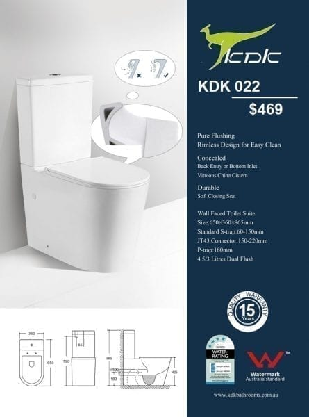KDK 022 Toilet with Rimless Flushing 1