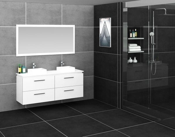 Britney 1500mm Vanity in White with Double Basin 1