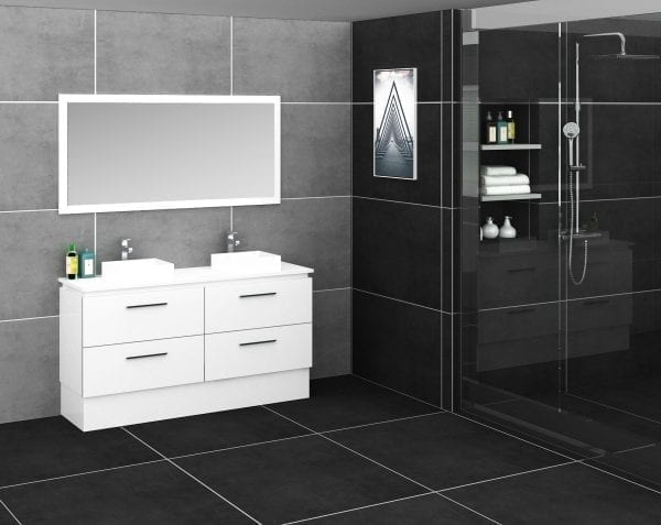 Britney 1500mm Vanity in White with Double Basin 2