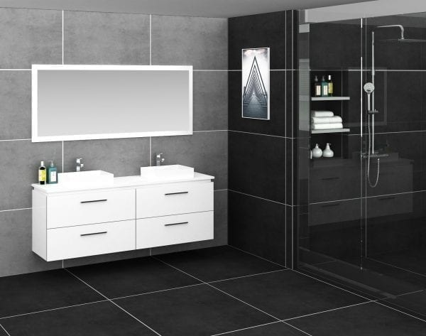 Britney Vanity 1800mm in White with Double Basin 2