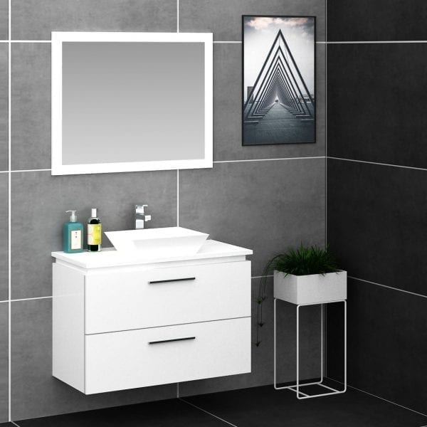 Britney 900mm Vanity in White 2