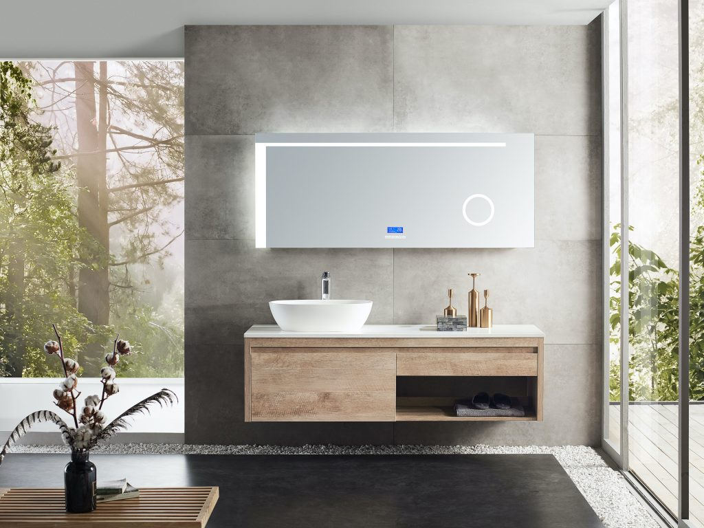Casilda Collection - Mirror cabinet vanity and basin ion oak available in our showrooms in Perth, Bentley and Malaga