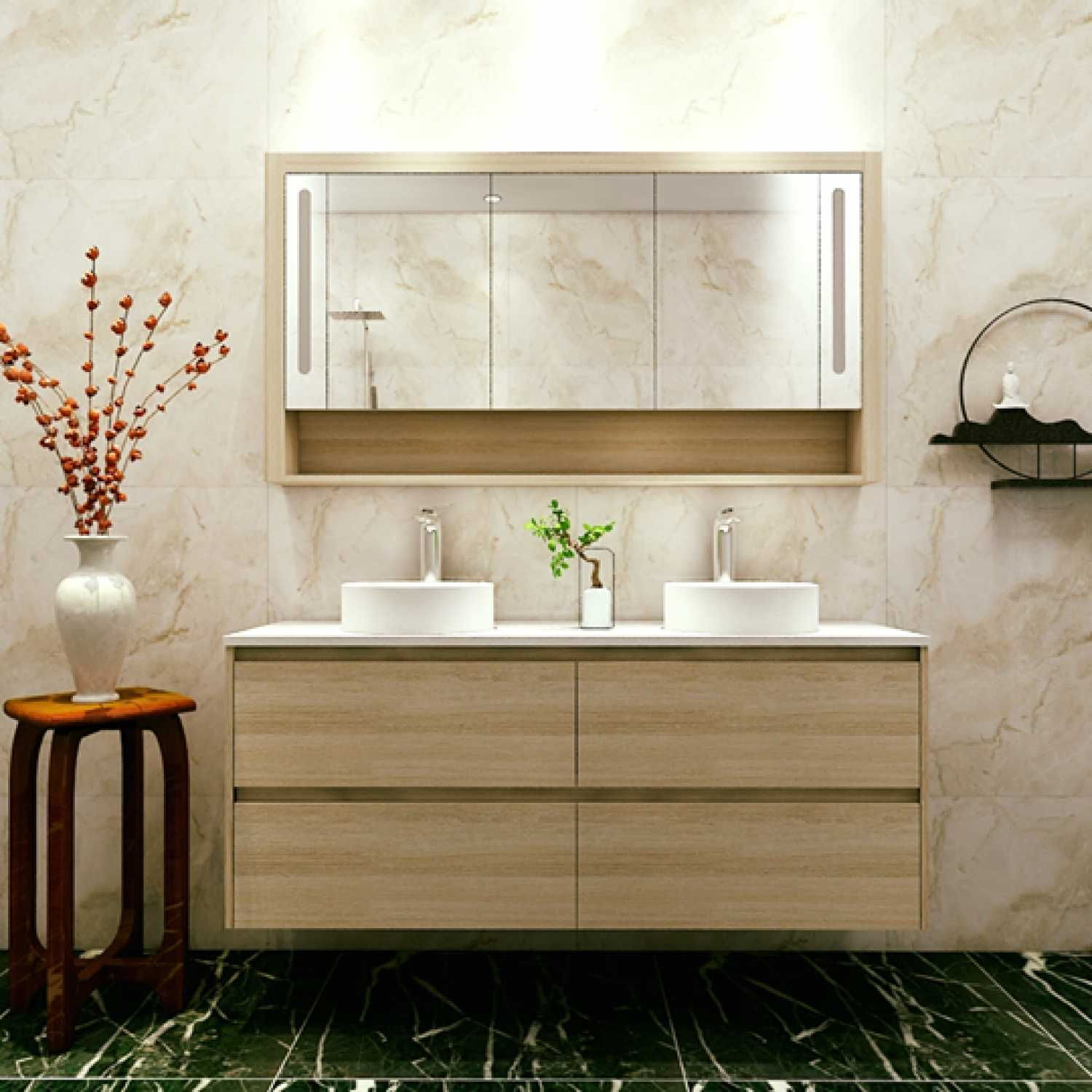 Britney 1500 Vanity in Oak Double Basin