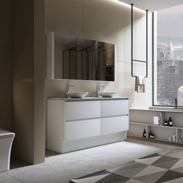 Britney 1500mm Vanity in White with Double Basin 3