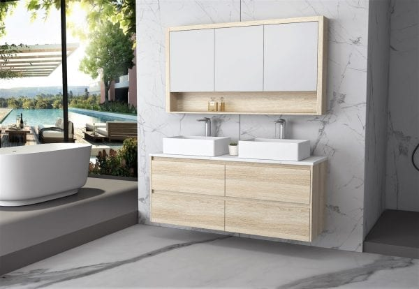 Britney 1500 Vanity in Oak with Double Basins 2