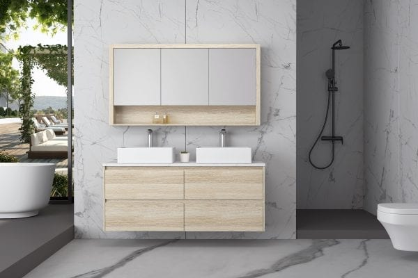 Britney 1500 Vanity in Oak with Double Basins 1
