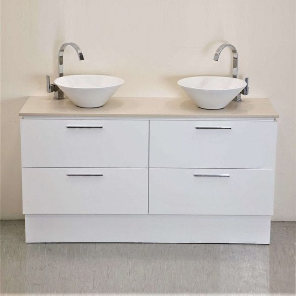 Britney 1500mm Vanity in White with Double Basin