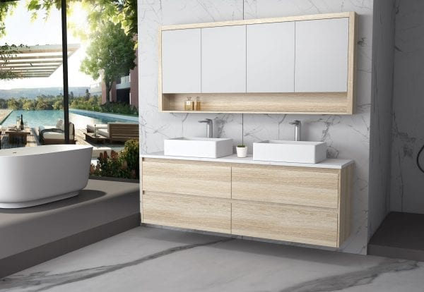 Britney 1800 Vanity in Oak with Double Basin 2