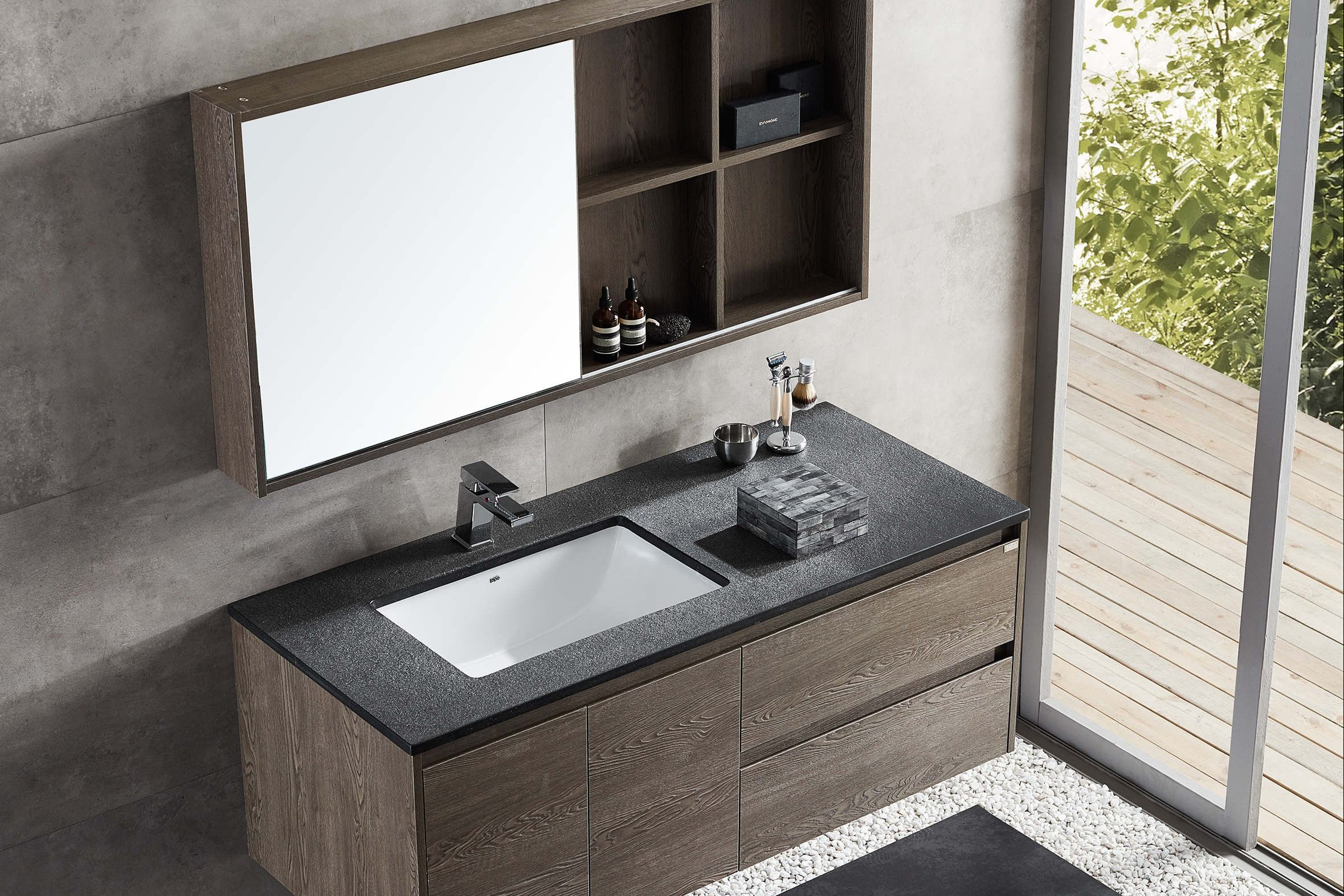 Vbathroom mirror cabinet and vanity in charcoal oak