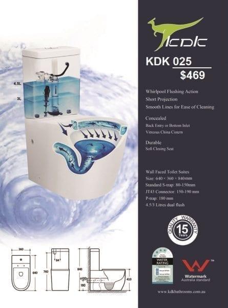 KDK-025 Toilet with Tornado Silent Flush 1