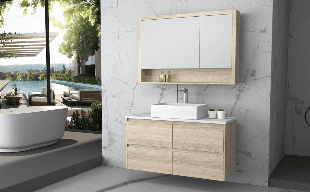 Britney vanity and cabinet perth in oak-min