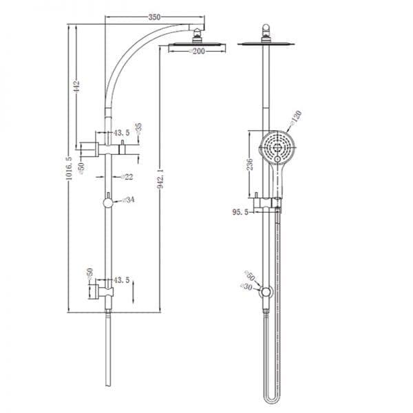 NERO Dolce 2 in 1 Shower Rail 2