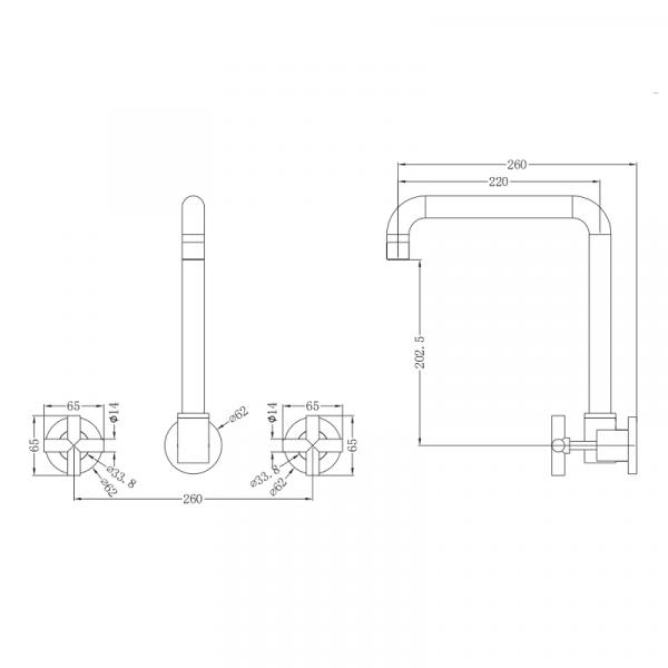 NERO Xplus Wall Kitchen Set with Swivel Spout 4