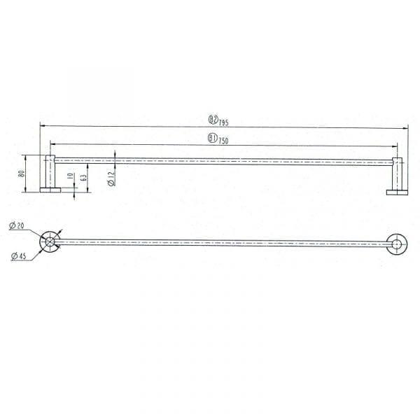 Star Single Towel Rail 750mm 4
