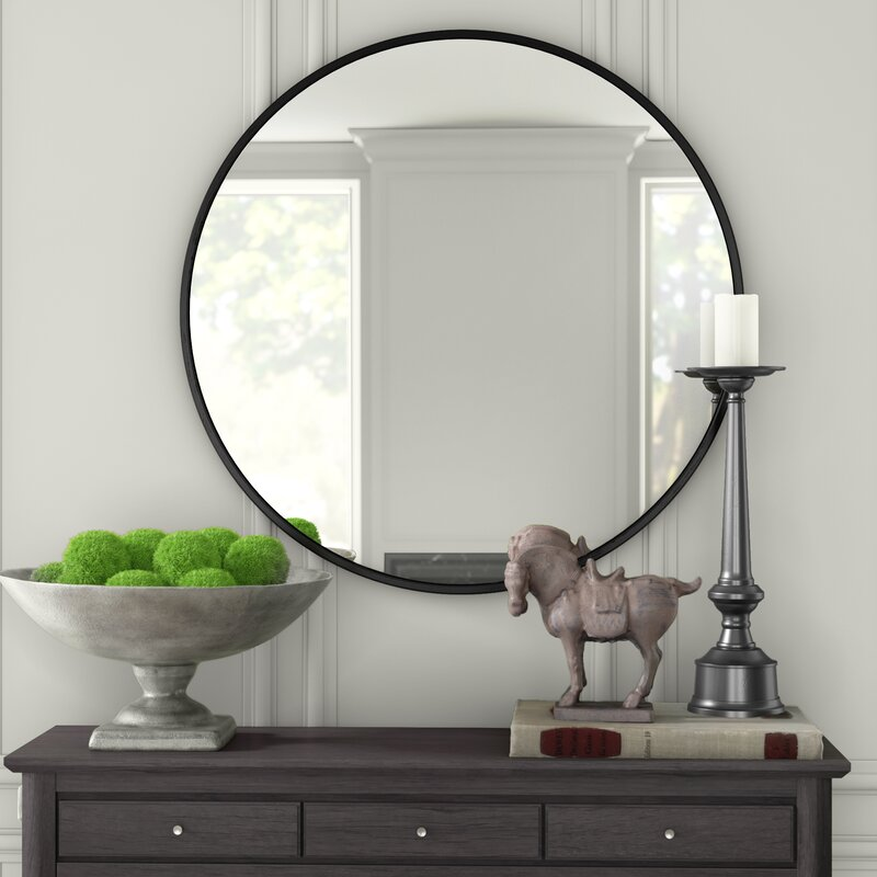 Round Pencil Edge Mirror with Black Frame