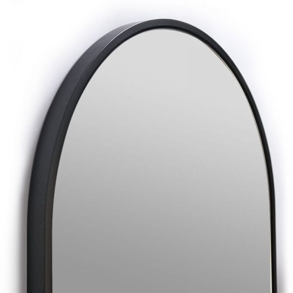 black glass warehouse vanity mirror close-up
