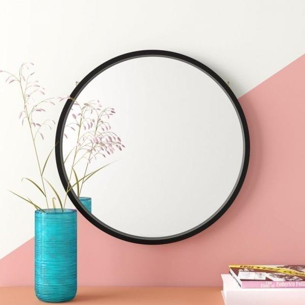 Round Pencil Edge Mirror with Black Frame 1