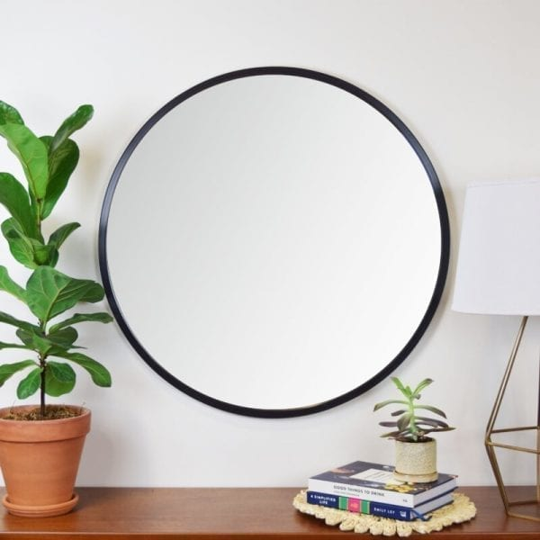 Round mirror with black frame - suitable anywhere in your house