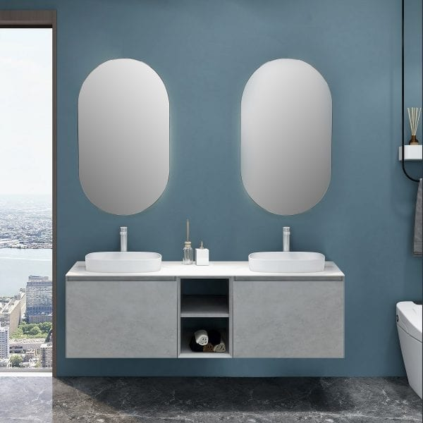 Inalco 1500 Vanity in Cement Grey Double Basin