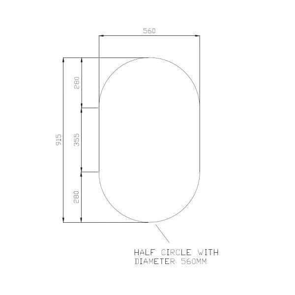 Oval Pencil Edge Bathroom Mirror 1