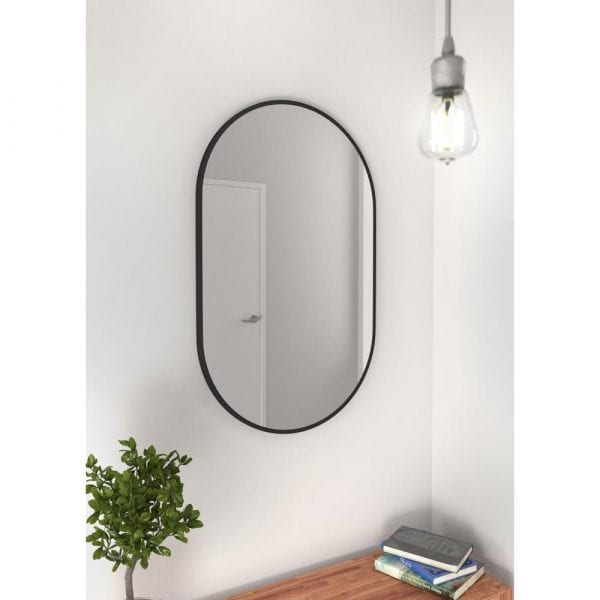 black glass warehouse vanity mirror - suitable for bathrooms as well as living rooms