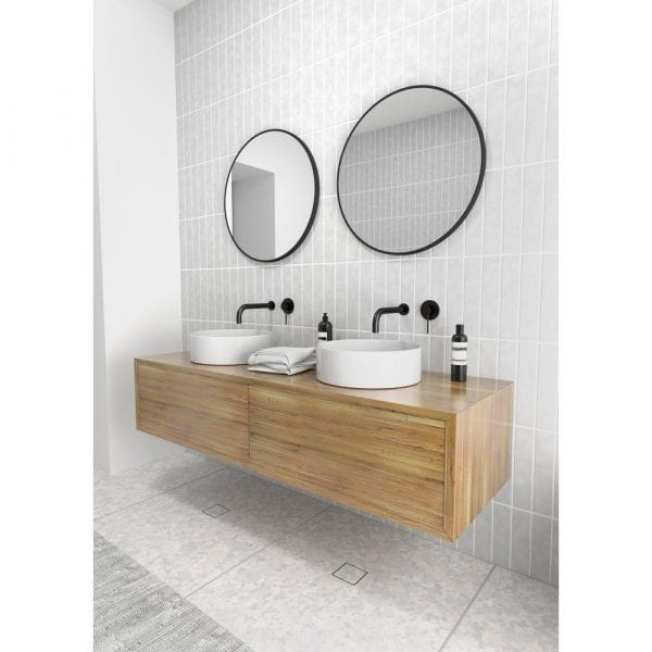 black glass warehouse vanity mirrors above double vanity