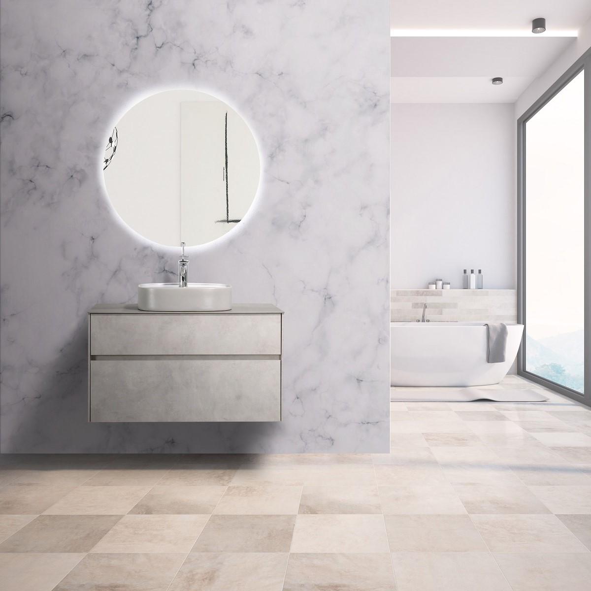 Lamina Vanity in cement grey - 900mm vanity