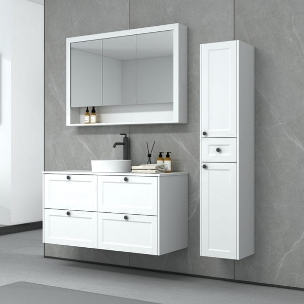 New Hampton 1200 Single Basin Matt White Wall Mounted