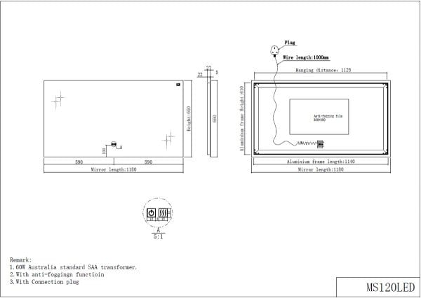 led mirror 1200mm drawing