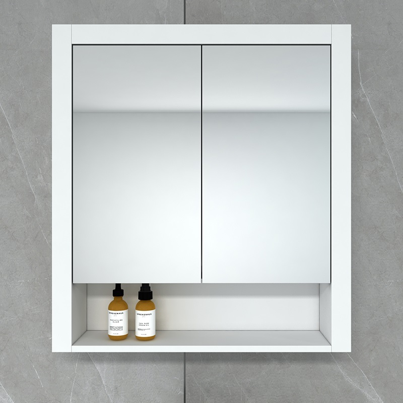 Hampton 750 Mirror Cabinet in Matt White