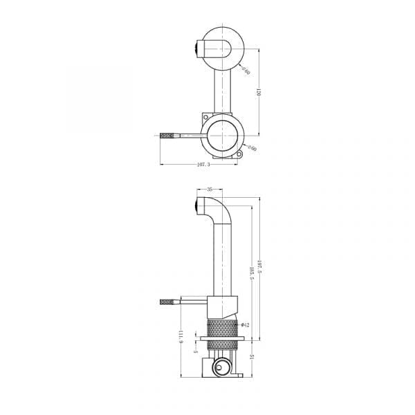 Opal Wall Mixer Set with Separate Back Plate Drawing