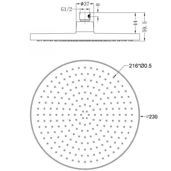 Air Shower Head 230mm 6